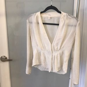 J.Crew • White Silk Blouse
